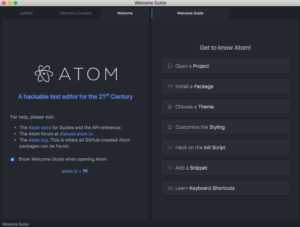 Atom welcome guide screenshot